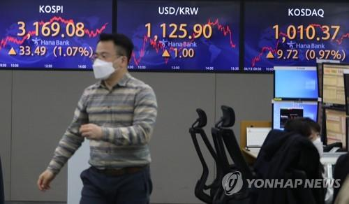 Electronic signboards at a Hana Bank dealing room in Seoul show the benchmark Korea Composite Stock Price Index (KOSPI) closed at 3,169.08 on April 13, 2021, up 33.49 points or 1.07 percent from the previous session's close. (Yonhap)