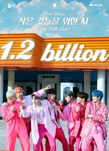 """This photo, provided by Big Hit Music, shows an image celebrating 1.2 billion views earned by the BTS music video """"Boy With Luv."""" (PHOTO NOT FOR SALE) (Yonhap)"""