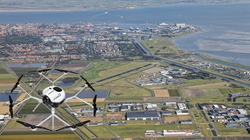 This image provided by Doosan Corp., the holding company of Doosan Group, on April 21, 2021, shows a drone of Doosan Mobility Innovation and an area in northern Netherlands for the country's offshore energy project. (PHOTO NOT FOR SALE) (Yonhap)