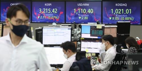 Electronic signboards at a Hana Bank dealing room in Seoul show the benchmark Korea Composite Stock Price Index (KOSPI) closed at 3,215.42 points on April 27, 2021, up 2.11 points, or 0.07 percent, from the previous session's close. (Yonhap)