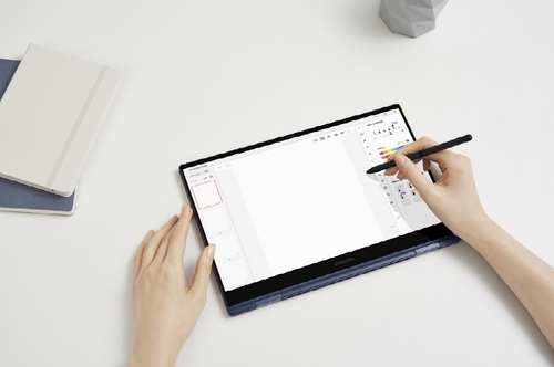 This photo provided by Samsung Electronics Co. on April 28, 2021, shows the Galaxy Book Pro 360 laptop that supports the S-Pen stylus. (PHOTO NOT FOR SALE) (Yonhap)