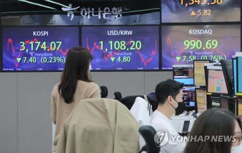 Electronic signboards at a Hana Bank dealing room in Seoul show the benchmark Korea Composite Stock Price Index (KOSPI) closed at 3,174.07 on April 29, 2021, down 7.4 points or 0.23 percent from the previous session's close. (Yonhap)