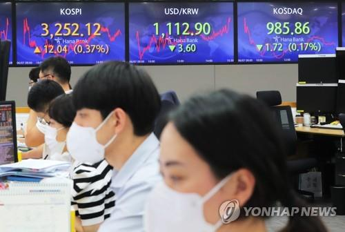 Electronic signboards at a Hana Bank dealing room in Seoul show the benchmark Korea Composite Stock Price Index (KOSPI) closed at 3,252.12 on June 7, 2021, up 12.04 points, or 0.37 percent, from the previous session's close. (Yonhap)